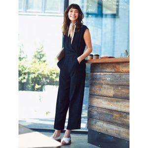 Calvin Klein Black V-Neck Jumpsuit w/ Pockets